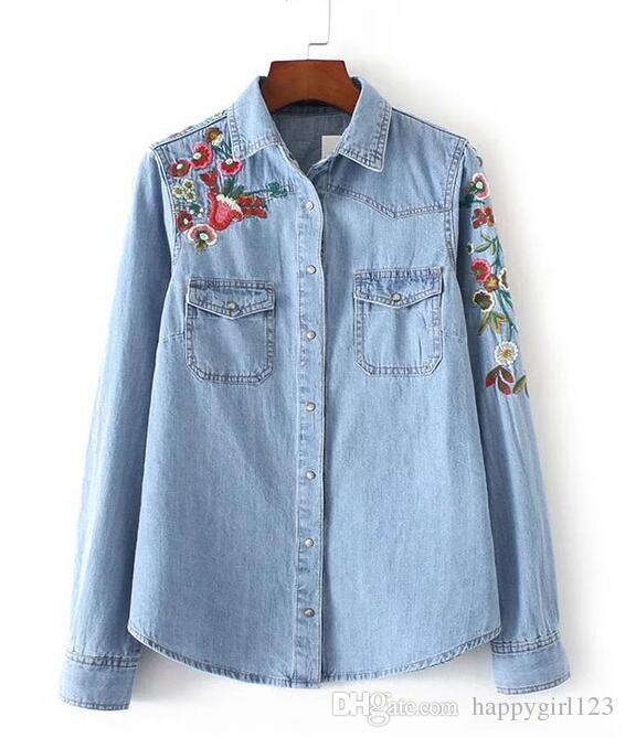 2019 Spring Vogue Women Clothing Floral Embroidered Denim Blouse