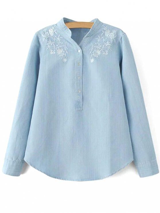 60% OFF] 2019 Stand Neck Floral Embroidered Denim Shirt In LIGHT