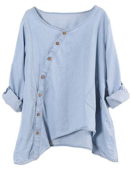 Women's Blouses Round Collar Button Down Jean Denim Shirts Top (One