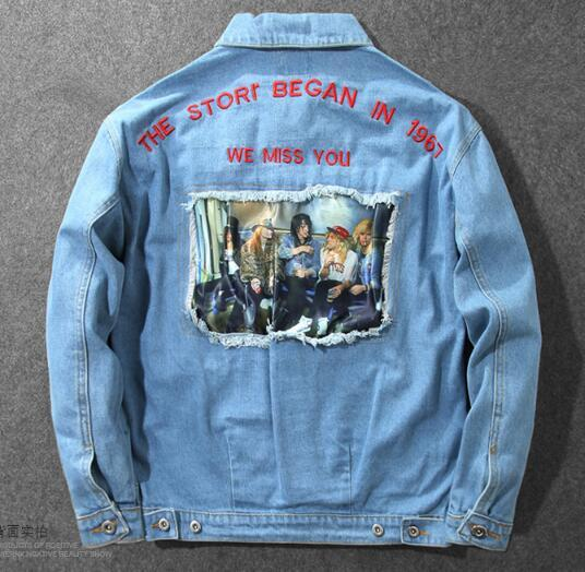 Spring And Autumn Embroidered Letter Denim Jacket Jacket Teen Retro