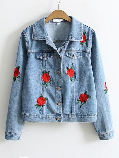 Rose Embroidery Single Breasted Denim Jacket | SHEIN