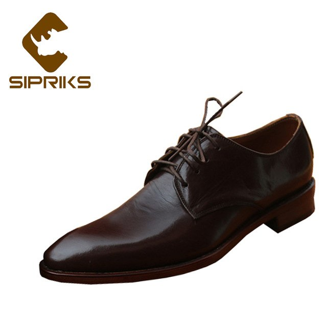 Sipriks Luxury Calf Leather Derby Shoes For Men Pointed Toe Dress