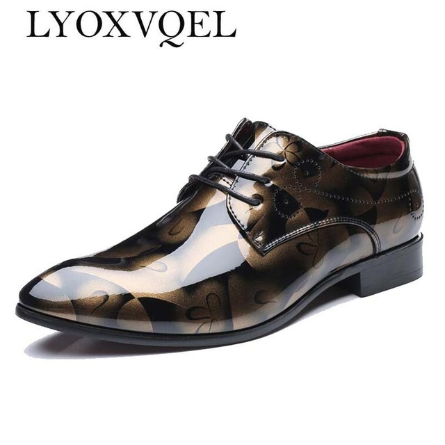 Plus Size 48 Classical Men Business Dress Shoes Patent Leather Derby