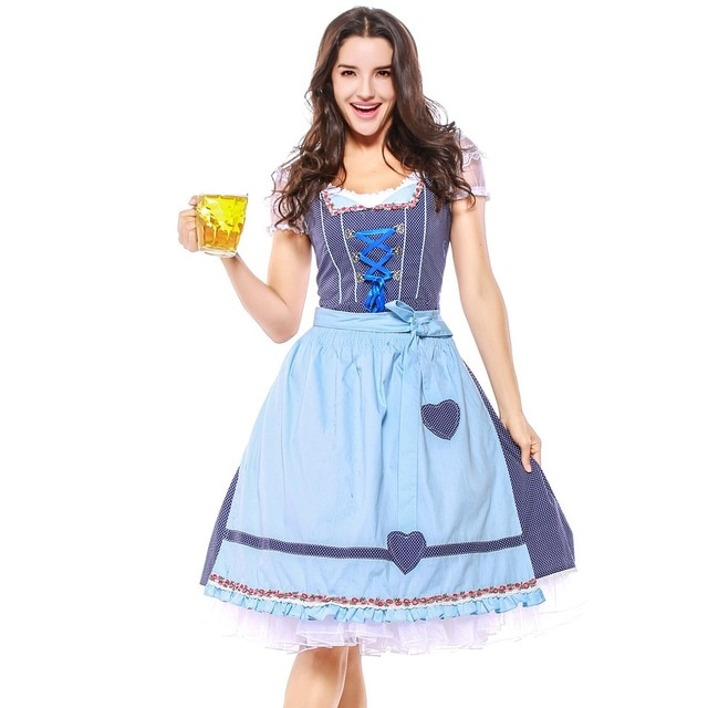Sexy 4PC Women Bandage Apron Dress Apron Bavarian Oktoberfest