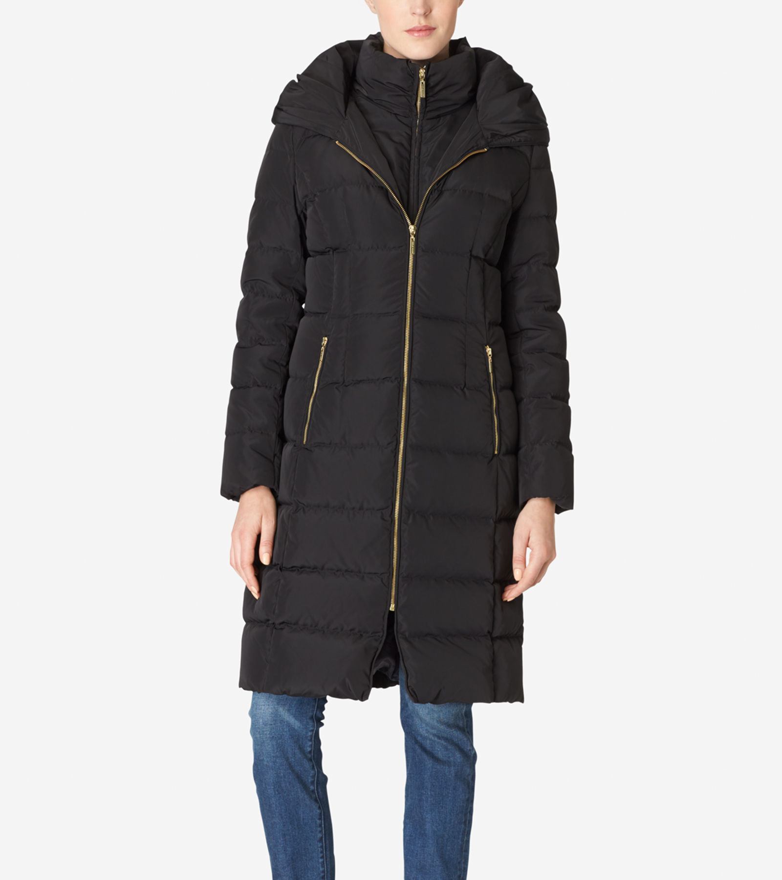 Women's Hooded Quilted Exposed Down Jacket in Black | Cole Haan