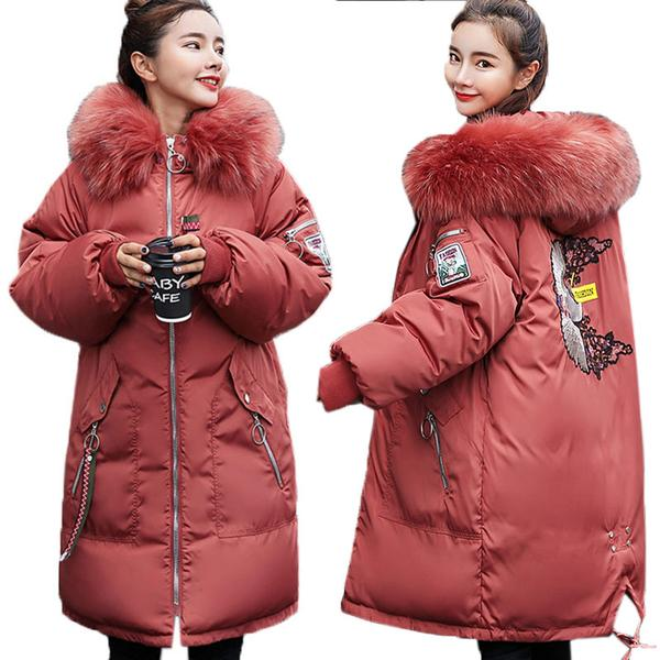 Embroidery Thick Long Down Parkas Hooded Winter Coat For Ladies u2013 Kaaum