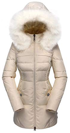 Amazon.com: Beinia Valuker Women's Down Coat with Fur Hood with 90