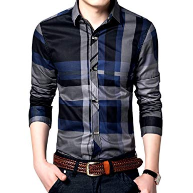 Womleys Mens Long Sleeve Slim Fit Casual Snap Buttons Plaid Dress