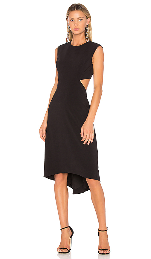 Halston Heritage High Neck Dress With Back Cut Out in Black | REVOLVE