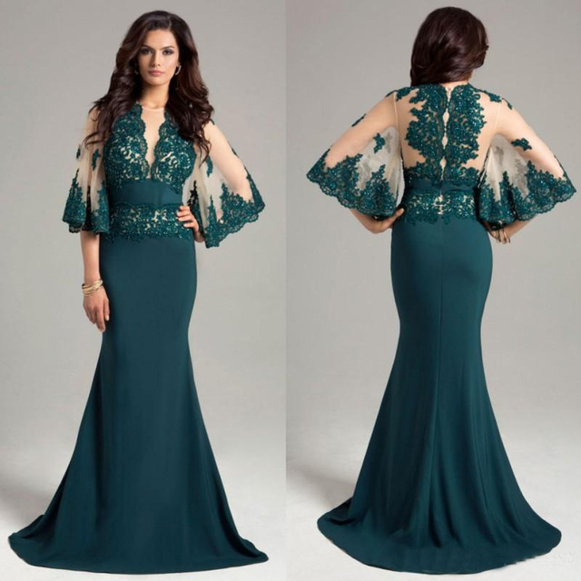 Hunter Green Dresses Evening Wear Sheer Neck Long Prom Gowns Mermaid