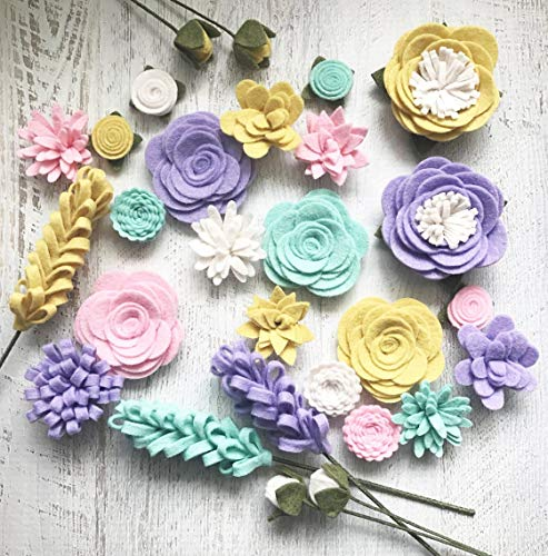 Amazon.com: Wool Felt Fabric Flowers - Flower Embellishment - Spring