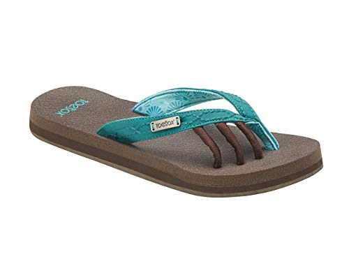 Amazon.com: toesox Women's Serena Five Toe Sandals (Aqua) Size: 5