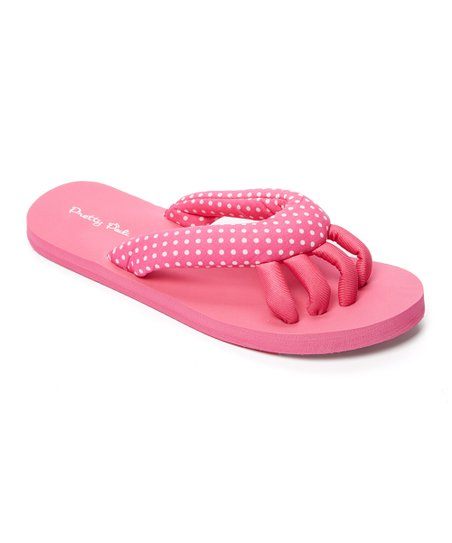 Pedi Couture Pink & White Polka Dot Spa Flip Flop - Women | Zulily