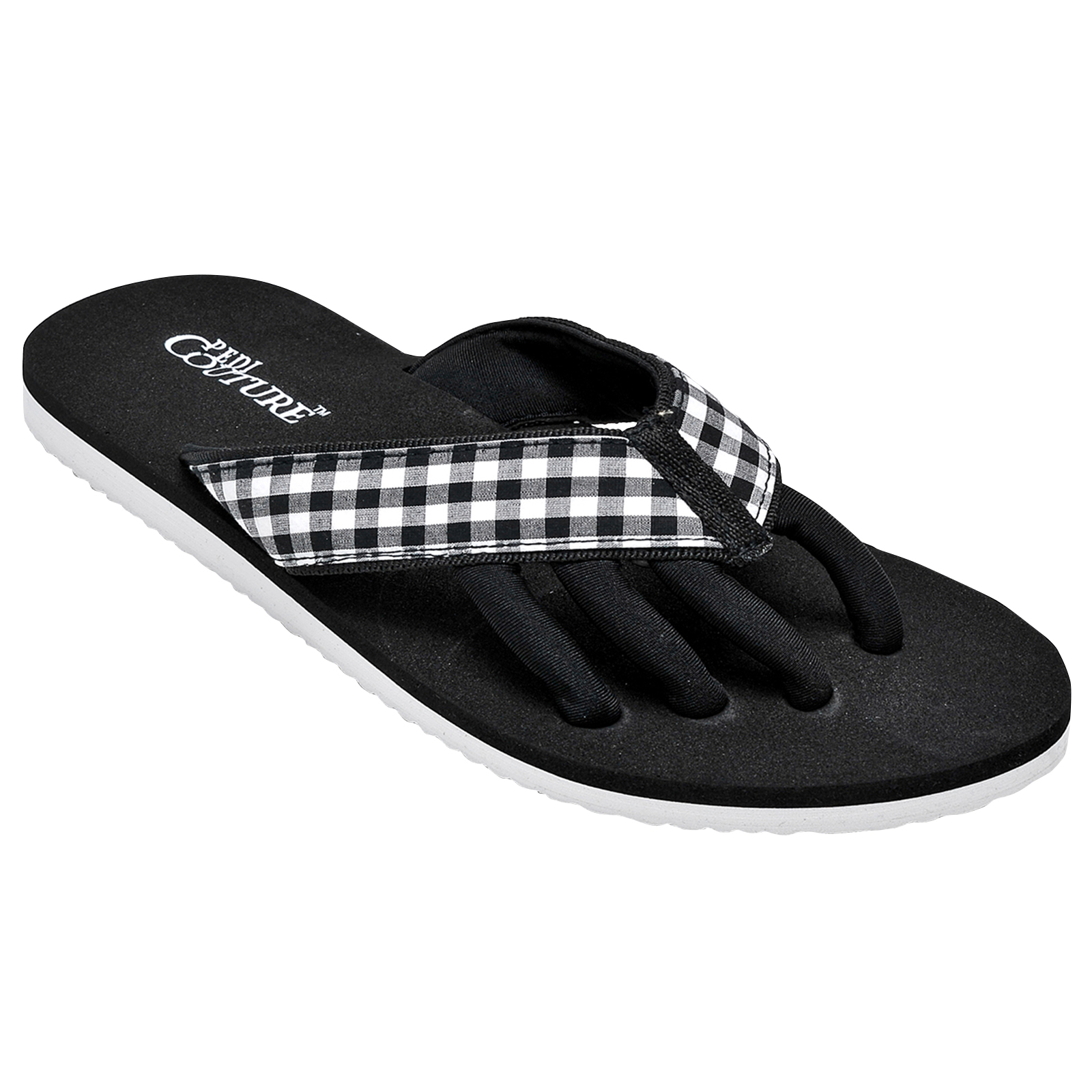 PEDI COUTURE NEW Women's Gingham Pedicure Spa Toe Separator Sandal