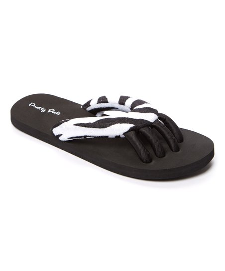 Pedi Couture Black Zebra Spa Flip-Flop - Women | Zulily