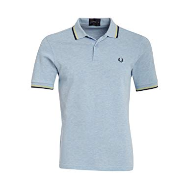 Amazon.com: Fred Perry Twin Tipped Polo Shirt, Summer Blue/Limelight
