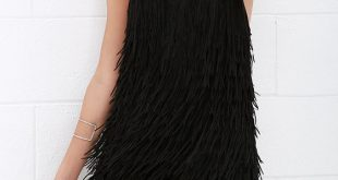 Dress the Population Dylan - Fringe Dress - Black Dress - Halter