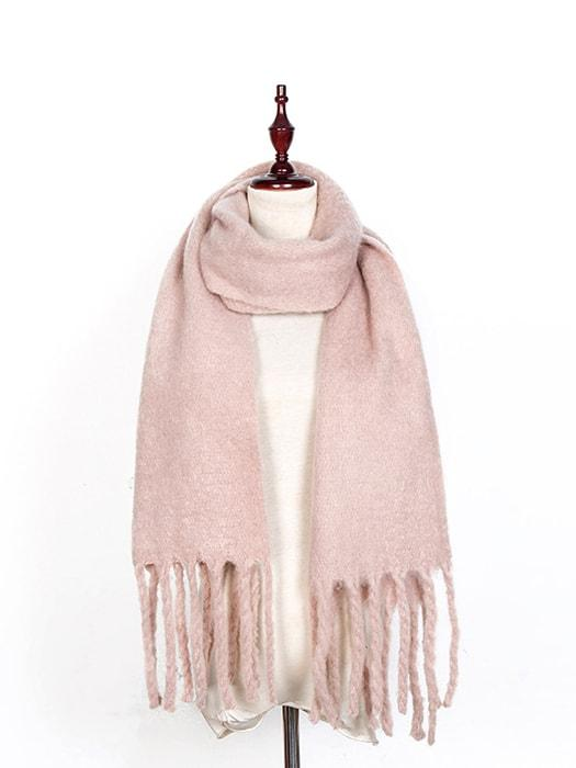 Fluffy Solid Color Fringed Scarf u2013 WhatsMode
