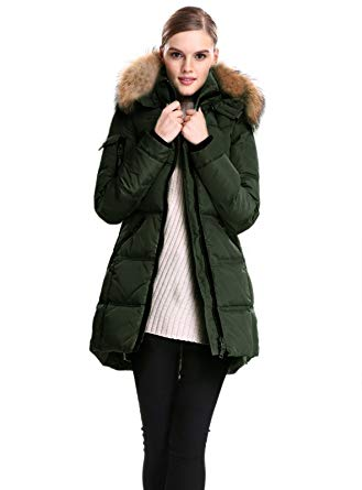Amazon.com: Escalier Women's Down Jacket with Real Fur Hooded Winter