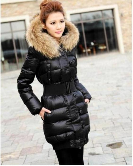 2019 Women's Quilted Down Fur Collar Hooded Jacket Expedition Parka