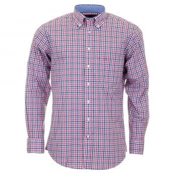Fynch-Hatton Pink And Grey Check Shirt