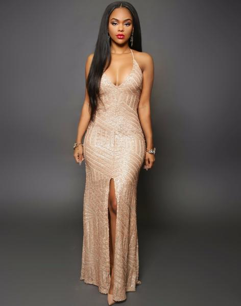 Glamorous Evening Dresses Gold Sequins Gown u2013 HisandHerFashion.com