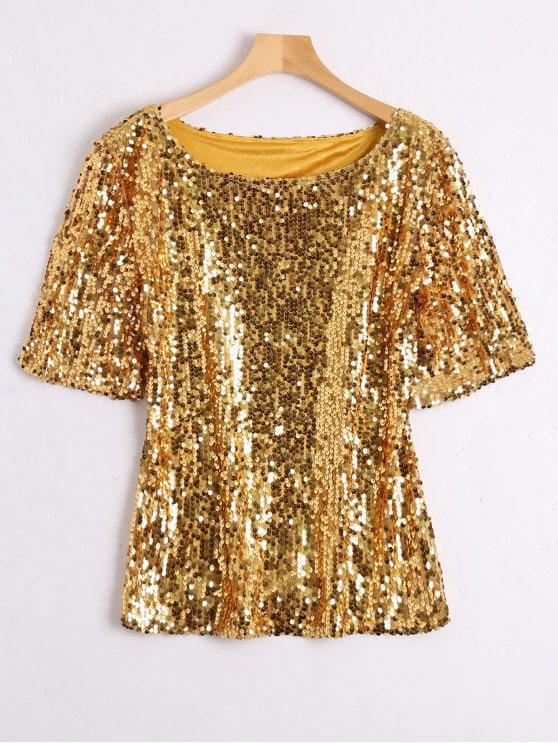 31% OFF] 2019 Plus Size Sequined Glitter T-shirt In GOLDEN 4XL | ZAFUL