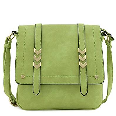 Double Compartment Large Flap Over Crossbody Bag Apple Green