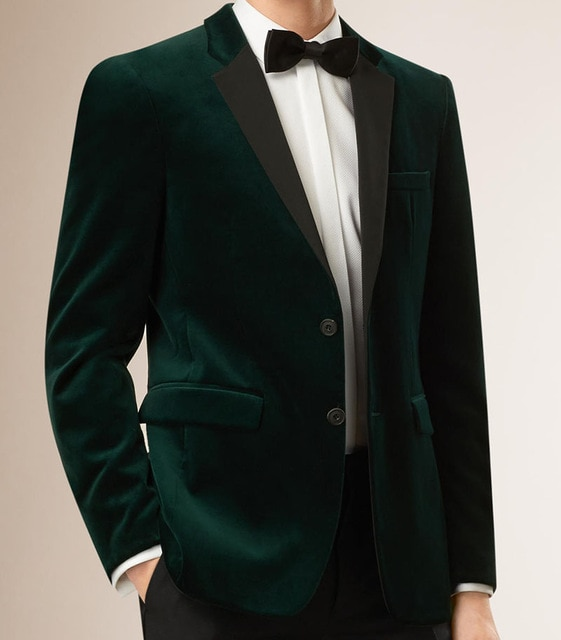Mens Velvet Blazers Custom Made Slim Fit Dark Green Velvet Jacket