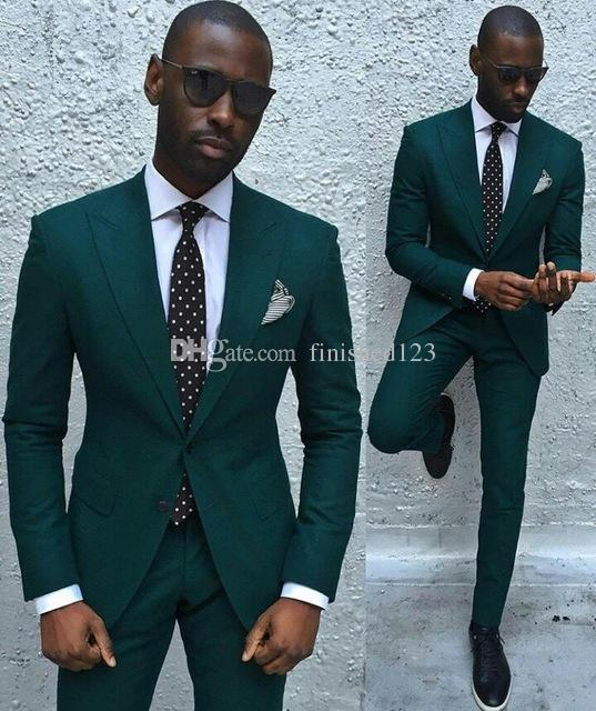 Fashionable Groom Tuxedos Groomsmen Dark Green Notch Lapel Best Man