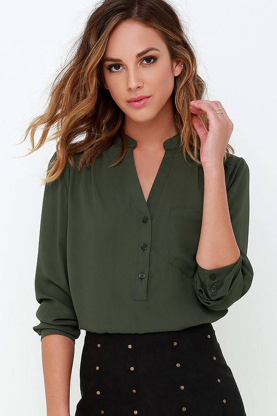 Cute Olive Green Top - Long Sleeve Top - Olive Green Blouse - $37.00