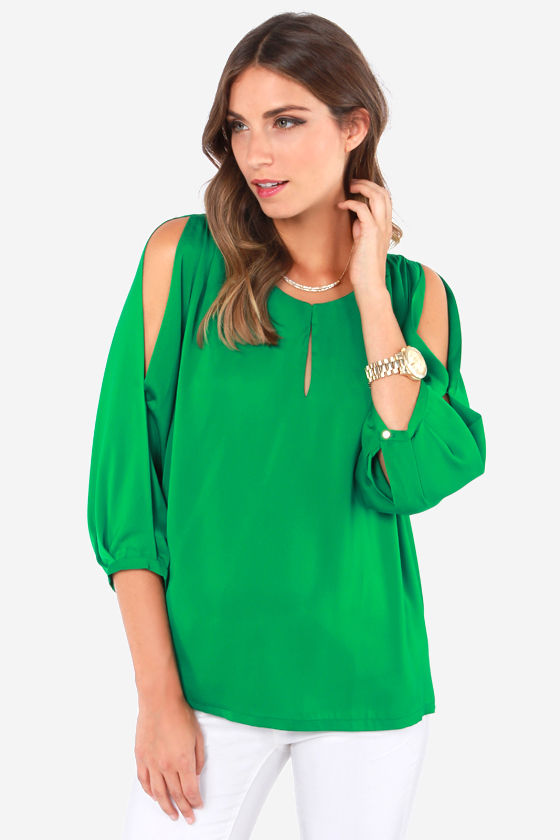 Cute Green Top - Cold Shoulder Top - Green Blouse - $45.00