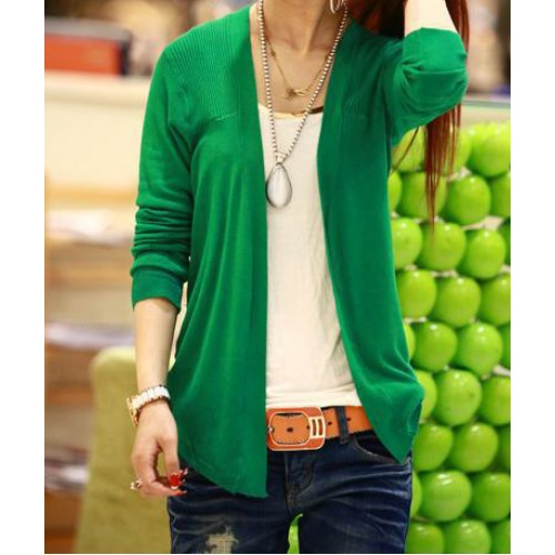 Ladylike Long Sleeve Solid Color Cardigan For Women green blue pink