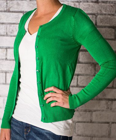 Look what I found on #zulily! Kelly Green Button-Up Cardigan - Women