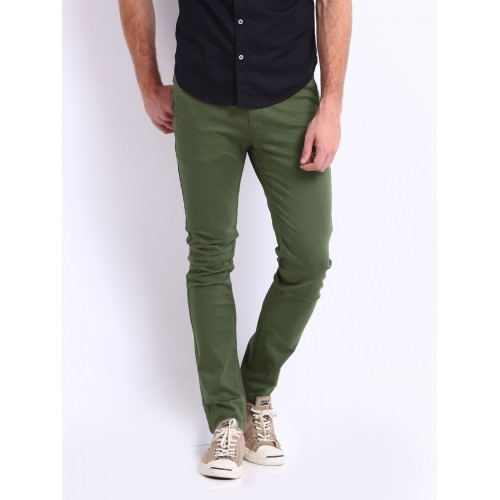 Men's Fashion : Olive Green Oxford Chinos | FashionMart