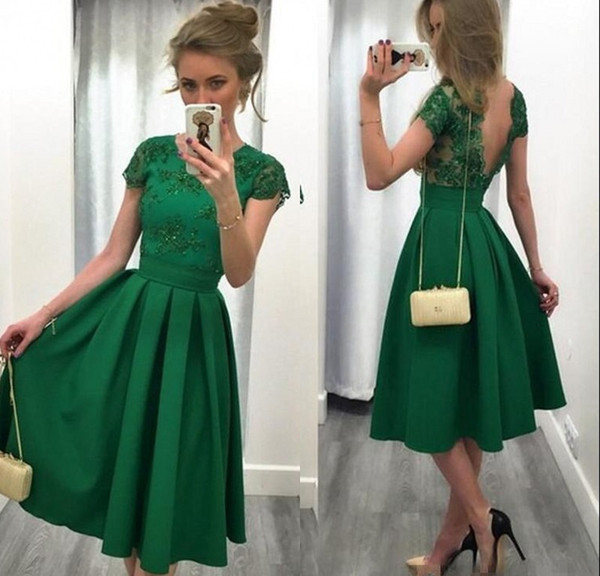Emerald Green Short Homecoming Dresses With Cap Sleeve A Line Satin