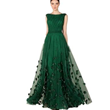 Green evening dresses: noble and playful