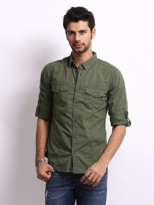 Shirts - United colors of benetton men olive green slim fit casual