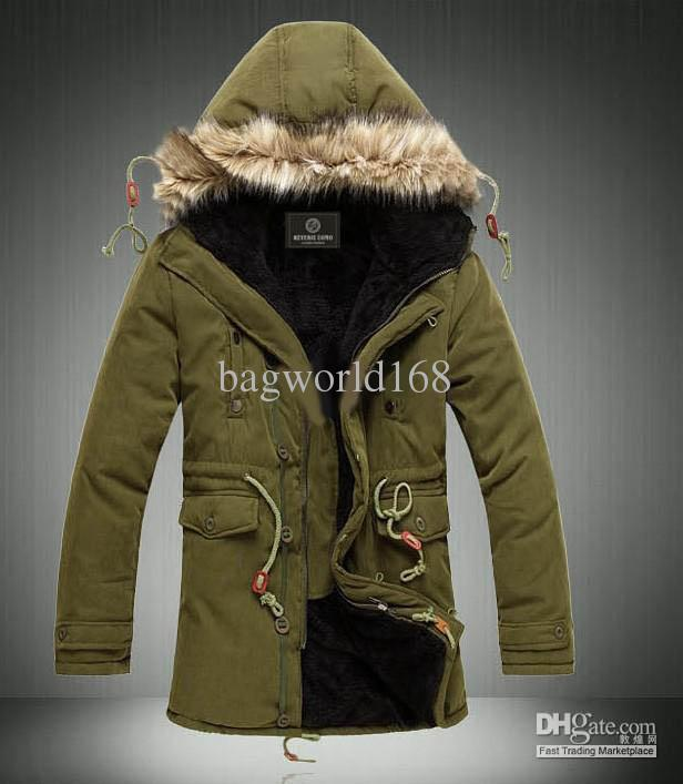 Army Green Men's Jacket Coats Hooded Faux Fur Collar Coat Thickening