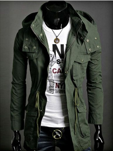 Navy Green Men Jacket Mens Slim Fit Zip Jacket Coat by Wowcosplay