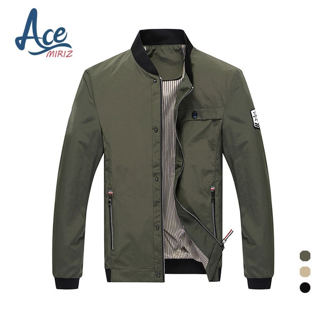 ACEMIRIZ 2017 Men Pockets Jacket Slim Zipper Solid Regular Casual