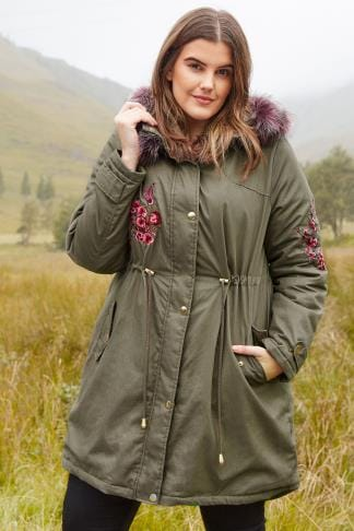 LIMITED COLLECTION Khaki Green Embroidered Parka, Plus size 16 to 36