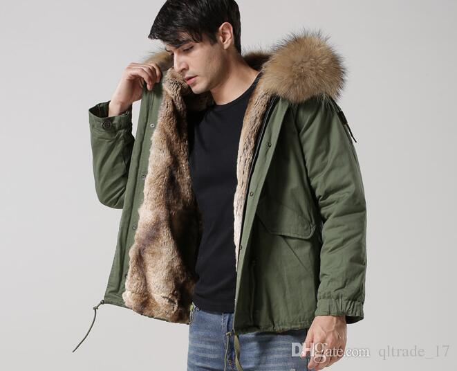 2019 MEIFENG Brand Brown Fur Trim Men Mini Parkas Khaki Rabbit Fur