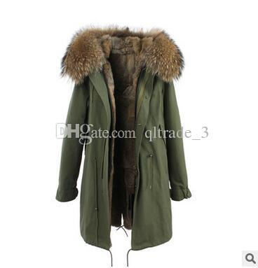 2019 JAZZEVAR Brown Fur Trim Rabbit Fur Long Army Green Parkas