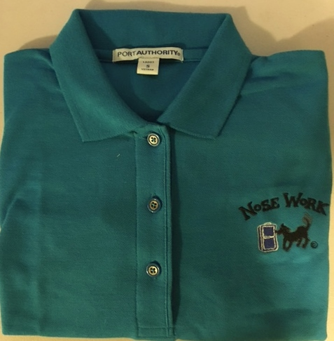 Polo Shirt u2013 Embroidered with Nose Work and Dog Sniffing Luggage