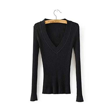 Deep V Forest Green Pullovers Women Knitted Sweater Elastic Jumper