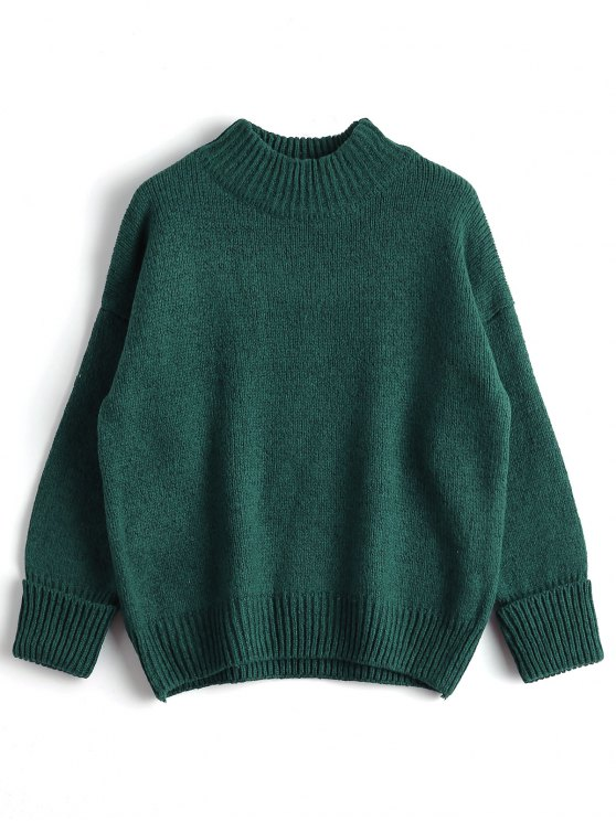38% OFF] 2019 Loose Heathered Mock Neck Sweater In GREEN ONE SIZE