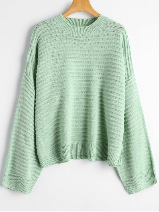 28% OFF] 2019 Drop Shoulder Plain Sweater In LIGHT GREEN ONE SIZE