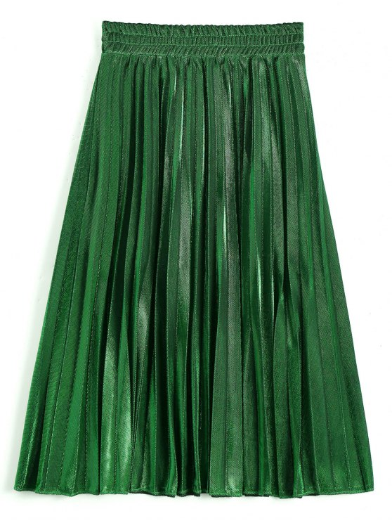32% OFF] 2019 Metallic Color Shiny Midi Pleated Skirt In DEEP GREEN