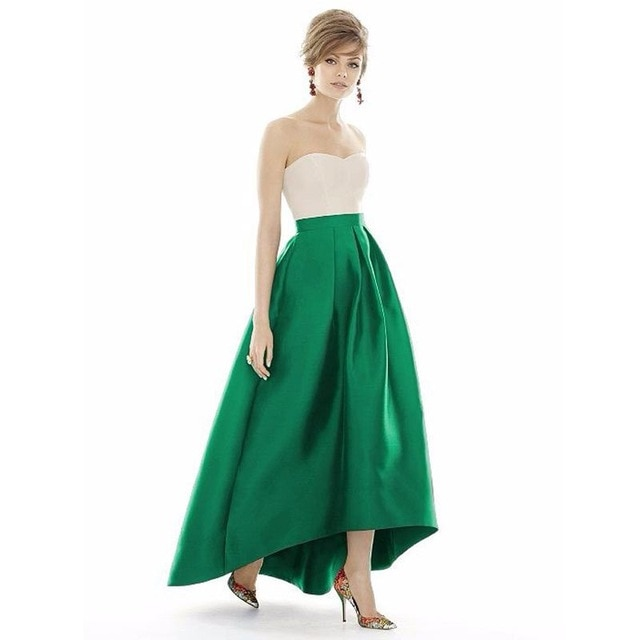 Emerald Green Color High Low Long Satin Skirt High Quality Custom